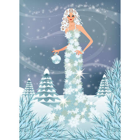 Winter girl. vector illustration Vector