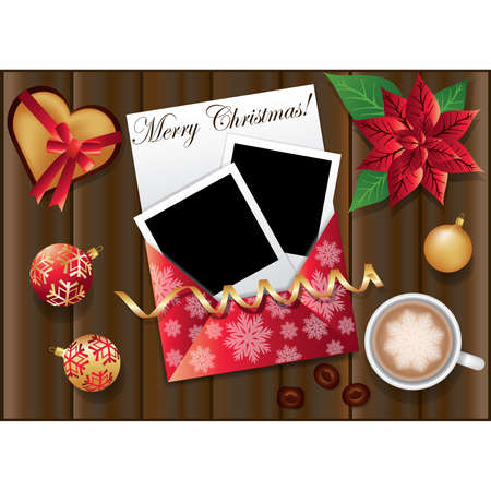 Christmas card with two framework for photo. illustration Vector