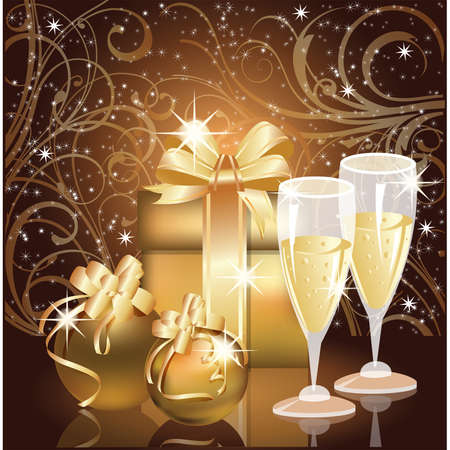 Christmas greeting card, Champagne with xmas ball. vector illustration Vector