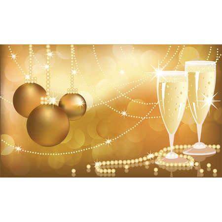Christmas congratulatory card with pearls and champagne, vector illustration Vector