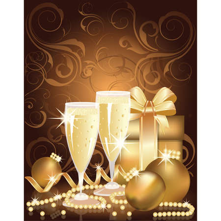 Christmas golden background with champagne and pearls. vector illustration Vector