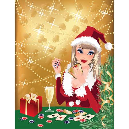 Santa girl plays poker. Christmas casino background. illustration Vector