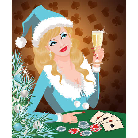 Casino Christmas card. Santa girl plays poker. vector  Vector