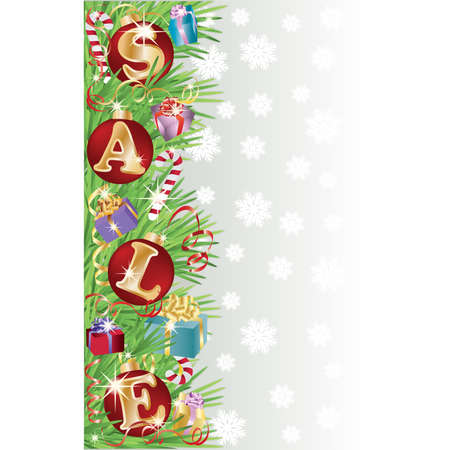 Sale banner with christmas ball, vector illustration Vector