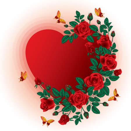 Love card. Roses heart frame. vector illustration