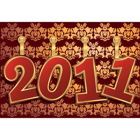 2011 new year with floral damask background. Vector