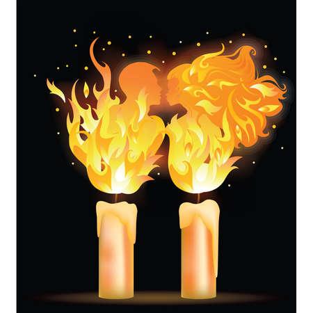 Fire kiss. Love card for valentines day illustration Vektoros illusztráció