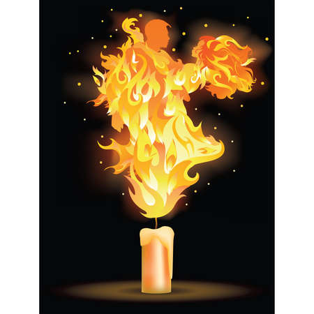 hot couple: Fire dance. Greeting card for wedding or valentine day. illustration