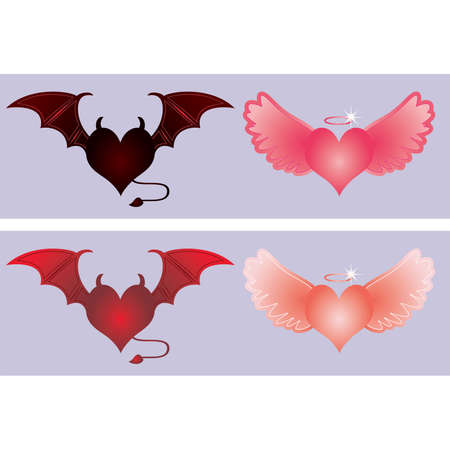 Angel and devil hearts, illustration Vector