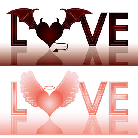 Devil and angel love banners. vector illustration  Vector