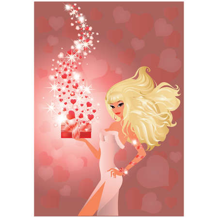 Love card, beautiful girl with hearts. vector illustration Vector