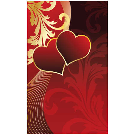Greeting love card with two hearts. vector illustration
