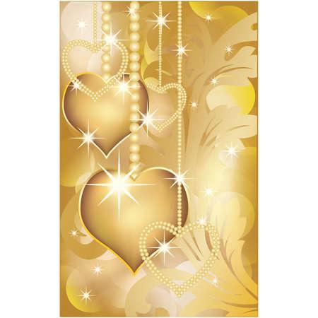Golden love card,   illustration Vector