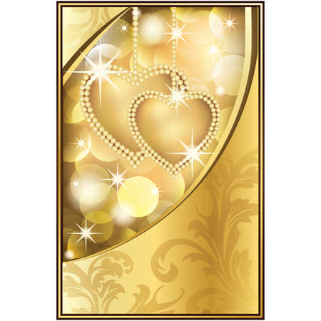 Beautiful Golden Background with Two Hearts,  illustration Vector