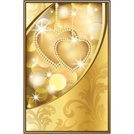 Hermoso fondo dorado con dos corazones, ilustración