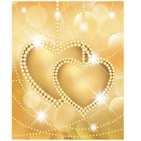 Valentine day golden card with two hearts.   illustration Vector