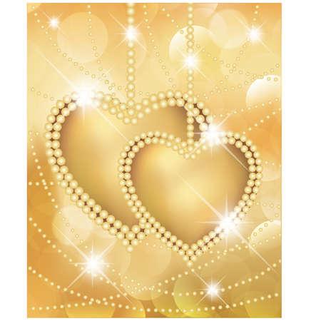 Valentine-dag gouden kaart met twee harten. illustratie