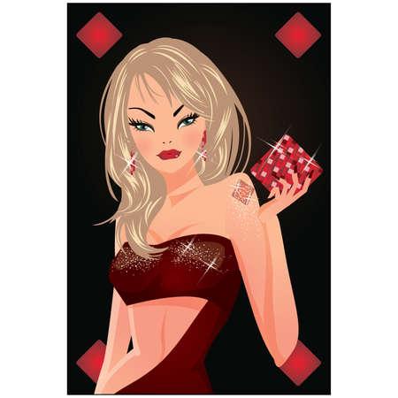 Poker card di diamante con ragazza blondy.