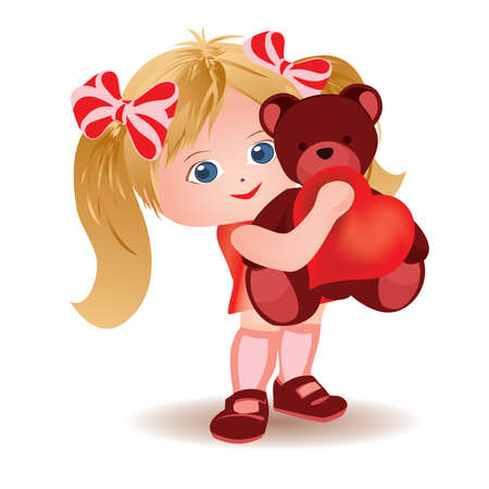 Little girl with teddy bear and heart.  Vector