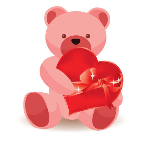valentin day: Teddy bear holding red heart.