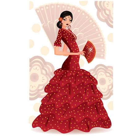 Spanish flamenco dancer.  Vector