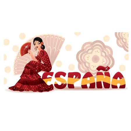 donna spagnola: Ragazza spagnola con ventilatore nel flamenco di stile.  Vettoriali
