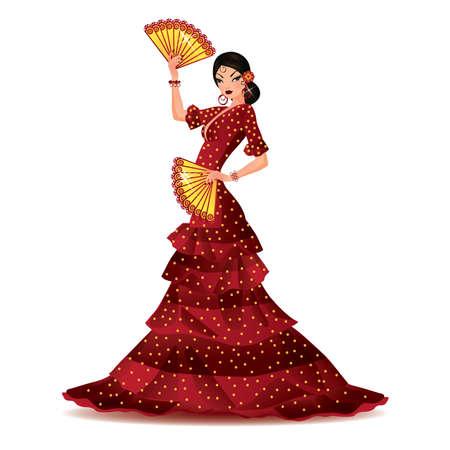 Chica española con dos ventiladores baila un flamenco, ilustración vectorial