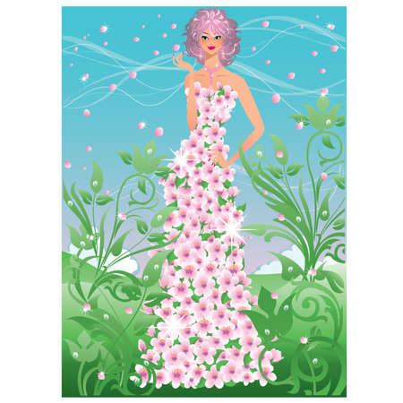 Spring girl. vector illustration Stock Vector - 8781960