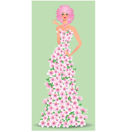 Spring floral girl. vector illustration Stock Vector - 8781959