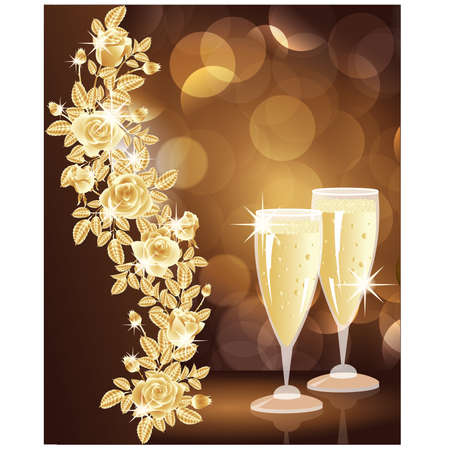 Golden love card with champagne. vector illustration Vector