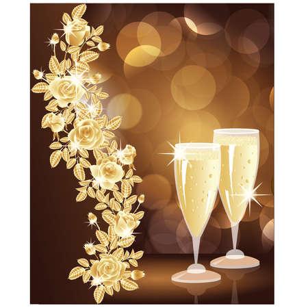 Tarjeta de oro amor con champa�a. ilustraci�n vectorial
