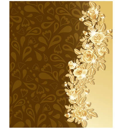 gold leafs: Greeting card with beautiful golden roses, vector illustration.
