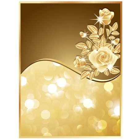 Tarjeta de invitaci�n con rosas de oro. ilustraci�n vectorial