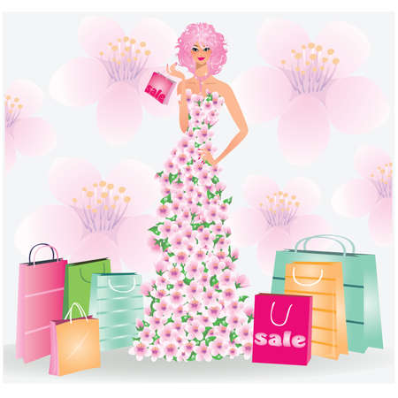 Spring sale girl. vector illustration