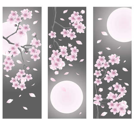 cherry wood: Spring flower banner