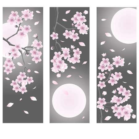 cherry wood: Spring flower banner