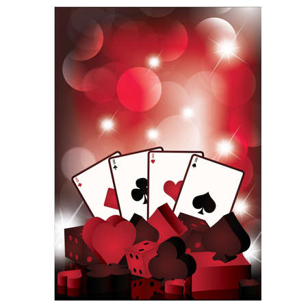 Casino wallpaper with poker cards Vector