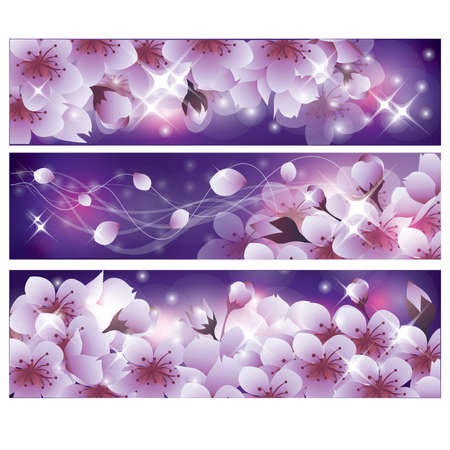 sakura flowers: Spring banners with Sakura flowers Illustration