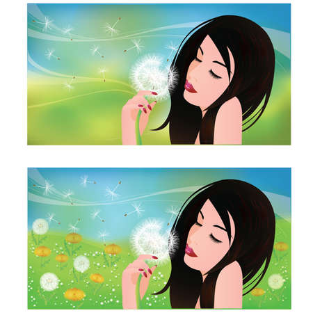 windy day: Spring banners, Girl with a Dandelion Illustration