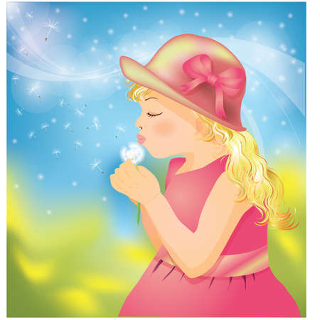 Little girl on to the meadow with dandelion Stock Vector - 8889041