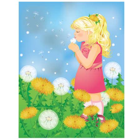 Little cute girl blowing a dandelion. vector illustration Stock Vector - 8924541