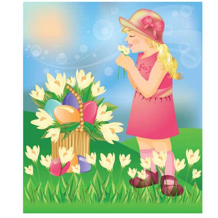 Little girl with Easter eggs. vector illustration Vector