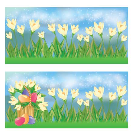 Easter spring banner set. vector illustration Vector