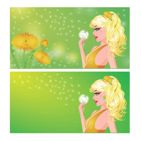 dress blowing in the wind: Spring banners. The young girl blows off a dandelion fuzz, vector illustration