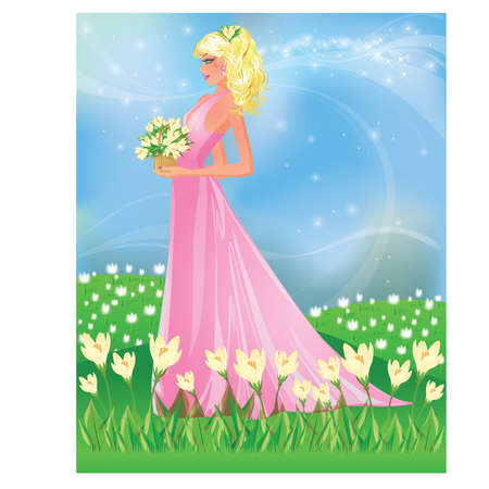 Spring card with girl and snowdrop, vector illustration Vector