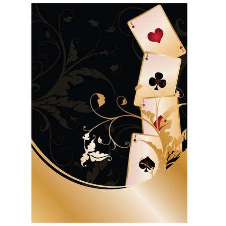 as de picas: Fondo con tarjetas de Poker, ilustraci�n vectorial Vectores