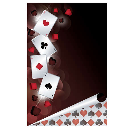 casino table: Casino banner with poker cards. vector illustration