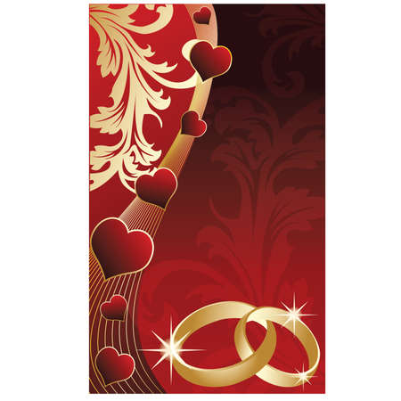 Wedding invitation card with golden rings