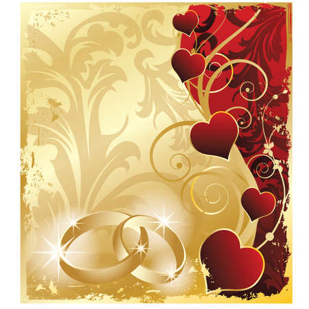 wedding symbol: Wedding invitation card with rings and hearts Illustration