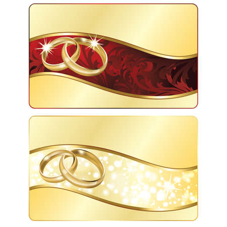 wedding card design: Two Wedding banner with golden rings Illustration